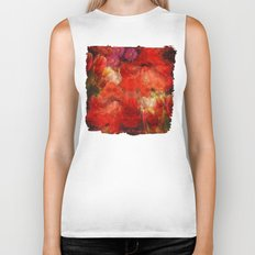 Floral impressionism in passionated red Biker Tank