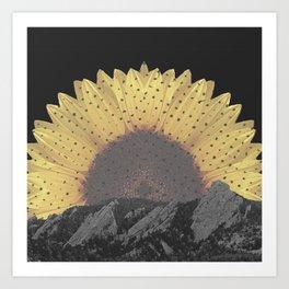 Boulder Colorado Flatirons Sunflower Decor \\ Chautauqua Park Floral Yellow Nature Bohemian Style Art Print