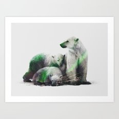 Arctic Polar Bear Family Art Print