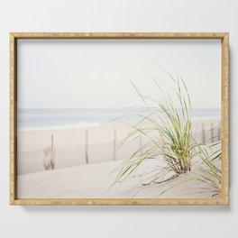 Beach Grass Coastal Photography, Seashore Jersey Shore Photograph Serving Tray