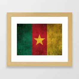 Old and Worn Distressed Vintage Flag of Cameroon Framed Art Print