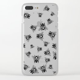 Tons of Bees Pattern Black and White Clear iPhone Case