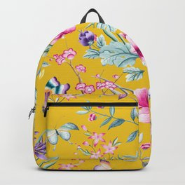 Yellow Chinoiserie Asian Floral Print Backpack