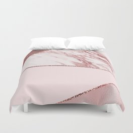 Spliced mixed pinks rose gold marble Duvet Cover