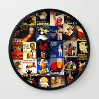beer Wall Clocks featuring BEER by PinkFarm