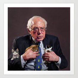 Bernie and Kittens Art Print