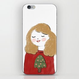 The girl waiting for christmas iPhone Skin