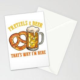 Pretzels and Beer l German Festival Bavarian Oktoberfest print Stationery Cards