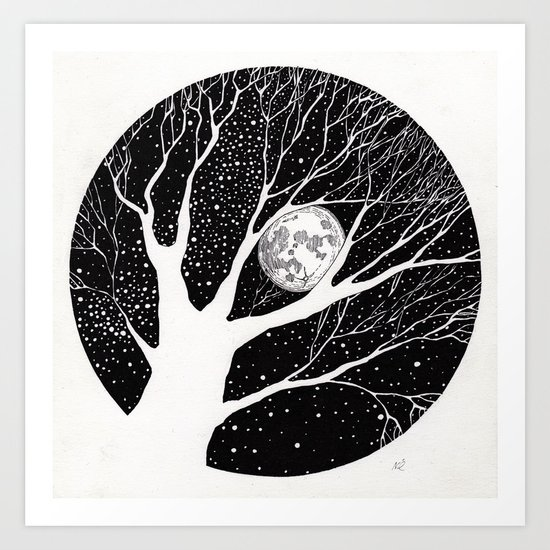 moonlight shadow Art Print