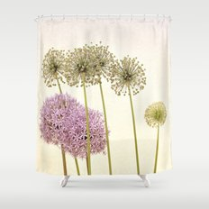 Tall Green Alum Plants and Purple Pink Star Flowers Shower Curtain