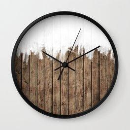 White Abstract Paint on Brown Rustic Striped Wood Wall Clock