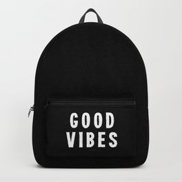 Grungy Distressed Ink Good Vibes | White on Black Backpack