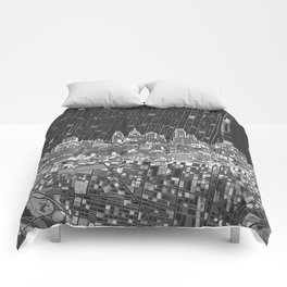 philadelphia city skyline black and white Comforters