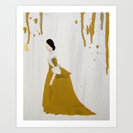 Yellow Dress Yellow Drip Art Print