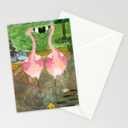 Yard Flamingo Koi Pond Stationery Cards