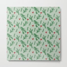 Christmas Fir Tree and Mistletoe Fruits Pattern Metal Print