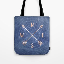 Rosegold and Blue Compass Tote Bag