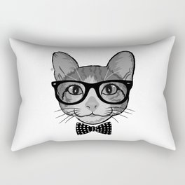 Cat Hipster With Polka Dots Bow Tie - Black White Rectangular Pillow
