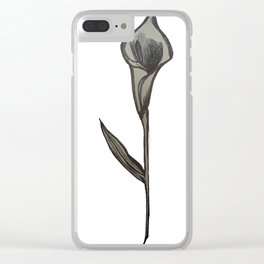 Single Stem Calla Lily Illustration Clear iPhone Case