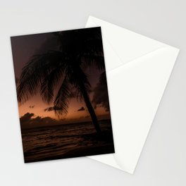 Sunset on palmtree   Beach sunset Stationery Cards