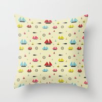 boats Throw Pillows featuring Boats by Annika Bäckström