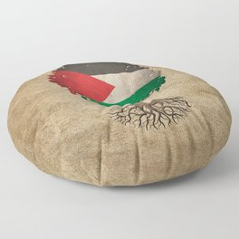 Vintage Tree of Life with Flag of Palestine Floor Pillow