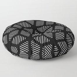 Geometric Line Lines Diamond Shape Tribal Ethnic Pattern Simple Simplistic Minimal Black and White Floor Pillow