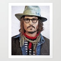 johnny depp Art Prints featuring Johnny Depp by Miguel A. Martin