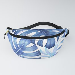 Blue tropical pattern  (monstera leaves and bird of paradise flowers Fanny Pack