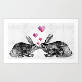 Bunny Rabbit Art - Hopped Up On Love 2 - By Sharon Cummings Art Print
