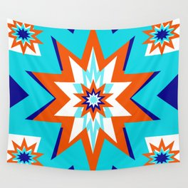 Star Graphic Blue and Orange Pattern Wall Tapestry