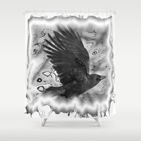 crow Shower Curtains featuring crow by Vector Art