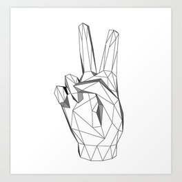 Geometric Peace sign Art Print