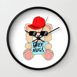 Wants to give free Hugs and Kisses? It's a perfect shirt for you. Free Hugging Kissing Love Heart Wall Clock