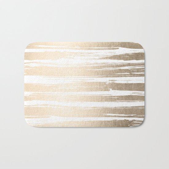 White Gold Sands Painted Stripes Bath Mat