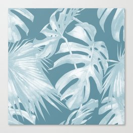 Teal Blue Tropical Palm Leaves Canvas Print
