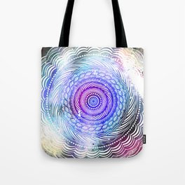 Modern Mandala Spiral Galaxy Space Textured Multi Colored / Purple Pink Orange Gray Black Tote Bag