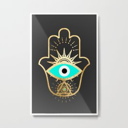 hamsa evil eye gold foil print Metal Print