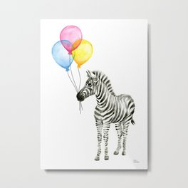 Zebra with Balloons Watercolor Baby Animals Metal Print
