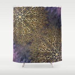 Gold Mandalas on Violet Background Shower Curtain