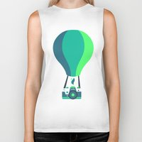 baloon Biker Tanks featuring Camera-baloon BLACK by GioDesign