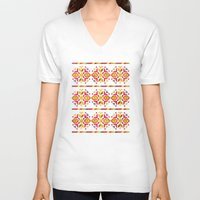 ethnic V-neck T-shirts featuring Eastern Ethnic  by VessDSign
