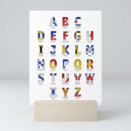 Navy Alphabet Letter - Leather Mini Art Print