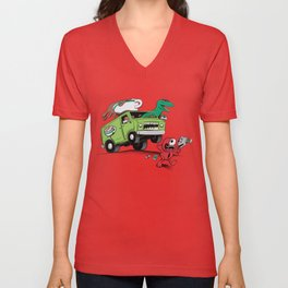 DinoLatte Run Down Unisex V-Neck