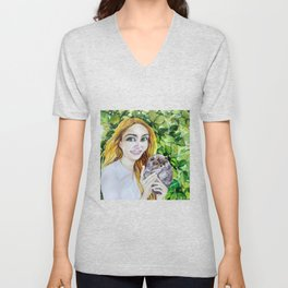 Happiness is Here. The Portrait of the Girl with the Pomeranian Puppy. Unisex V-Neck