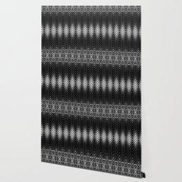 Geometric Black and White Diamond Scales Pattern Wallpaper
