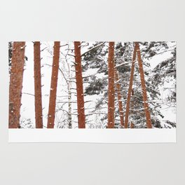 Snow Covered Pine Trees Rug