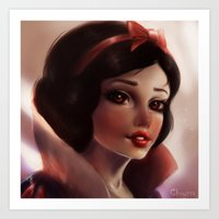 snow white Art Prints featuring Snow white by ChrySsV