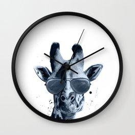 Giraffe Blue Black White Wall Clock