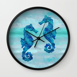 Blue Seahorse Couple Underwater Wall Clock